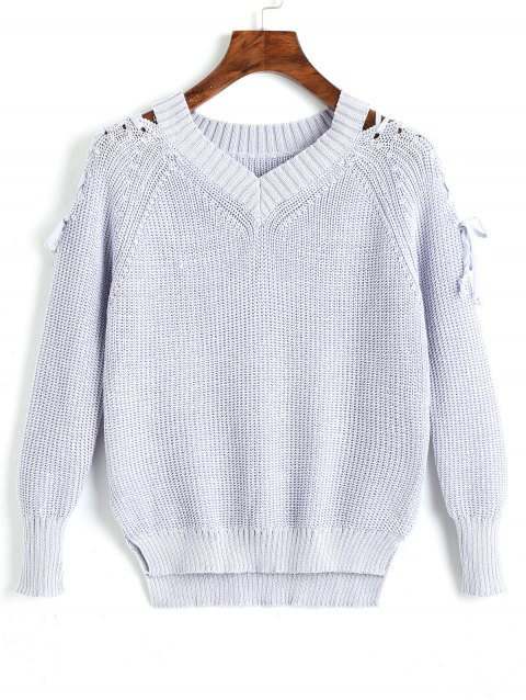 Lace Up V Neck Raglan Sleeve Sweater - GREY BLUE ONE SIZE