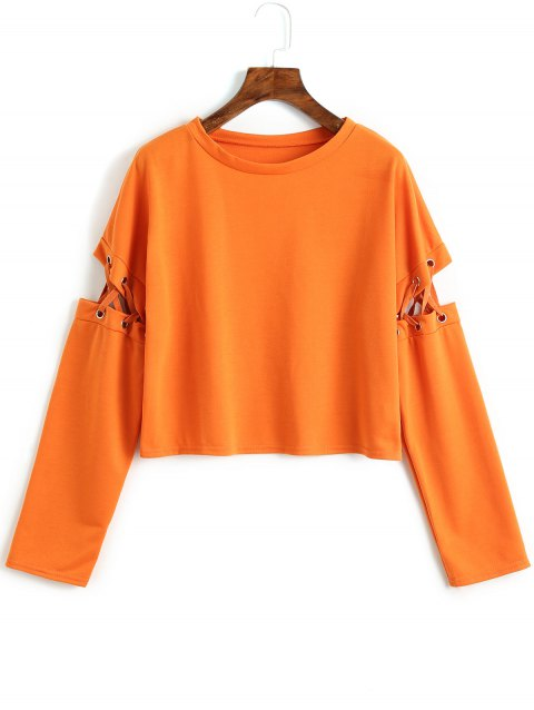 Lace Up Cut Out Sweatshirt - ORANGE L