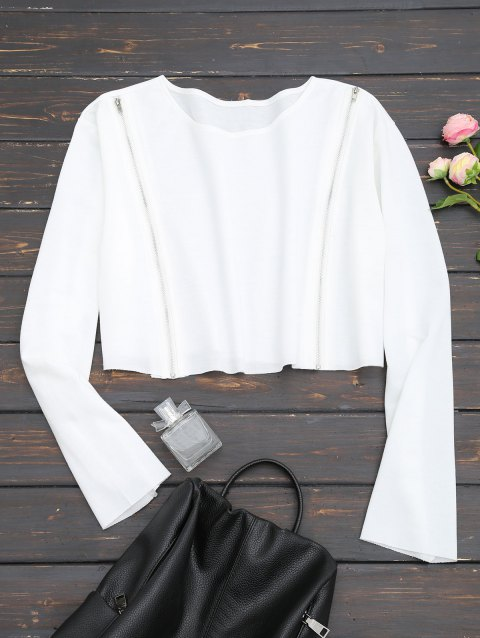 Zippered Front Cropped Sweatshirt - WHITE L
