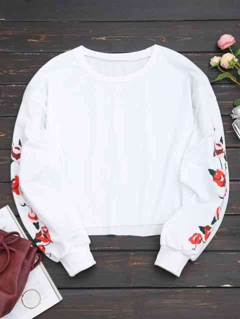Floral Panel Cropped Sweatshirt - WHITE L