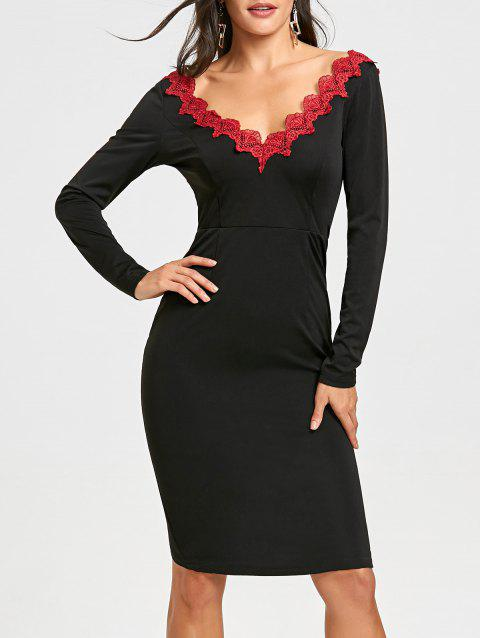 Backless Lace Trimmed Bodycon Dress - BLACK M