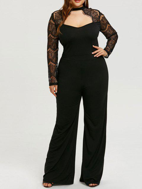 Cut Out Plus Size Lace Sleeve Jumpsuit - BLACK 5XL