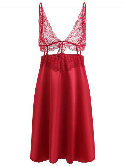 Cut Out Lace Panel Slip Babydoll - WINE RED 2XL