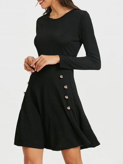 Limited Offer 2019 Long Sleeve High Waist Skater Dress With Button