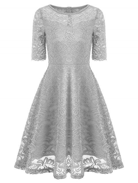 Fit and Flare Lace Vintage Dress - GRAY XL