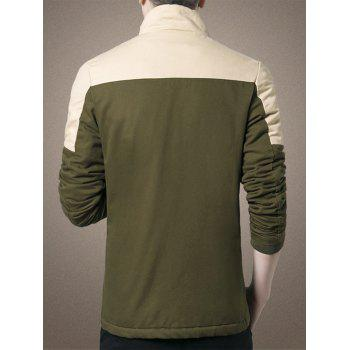 Zipper Up Two Tone Flocking Thermal Jacket - ARMY GREEN ARMY GREEN