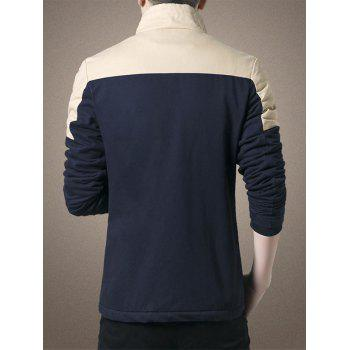 Zipper Up Two Tone Flocking Thermal Jacket - PURPLISH BLUE PURPLISH BLUE