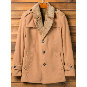Epaulet Design Lapel Flocking Coat - KHAKI XL