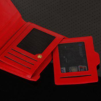 PU Leather Multi Function Bi Fold Wallet -  RED