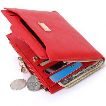 PU Leather Multi Function Bi Fold Wallet - RED RED