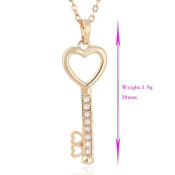 Rhinestoned Love Heart Key Pendant Necklace -  GOLDEN