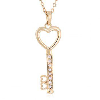 Rhinestoned Love Heart Key Pendant Necklace - GOLDEN GOLDEN