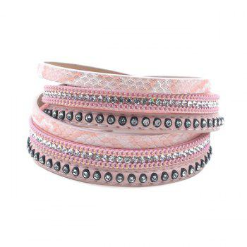 False Leather Layered Rhinestoned Wrap Bracelet - PINK PINK
