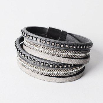 False Leather Layered Rhinestoned Wrap Bracelet - GRAY GRAY