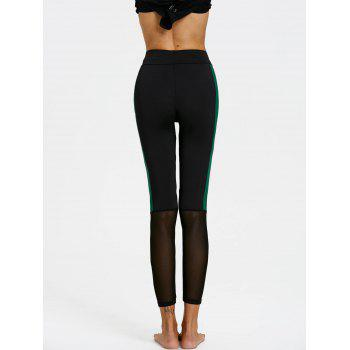 Two Tone Sheer Mesh Insert Leggings - BLACK S
