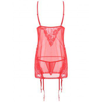 Lace Mesh Slip Garter Babydoll - RED ONE SIZE