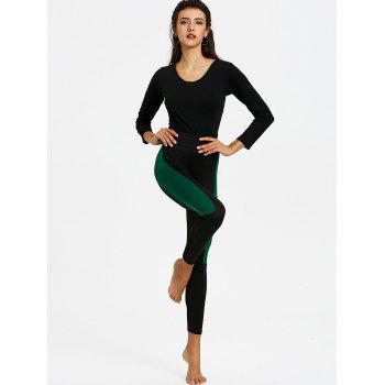 Legging à Empiècement Tulle Transparent  à Deux Tons - Noir XL