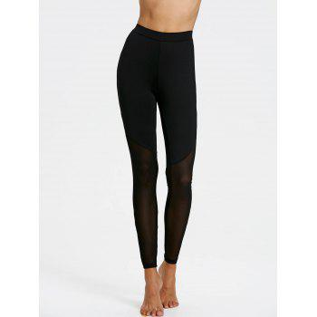 Sheer Mesh Insert Leggings - BLACK L