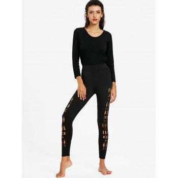 Hollow Out Leggings - BLACK XL