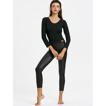 Skinny Cropped Faux Leather Leggings - BLACK ONE SIZE
