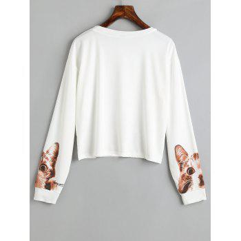 Long Sleeve Cute Cat Print Crop T-shirt - WHITE M
