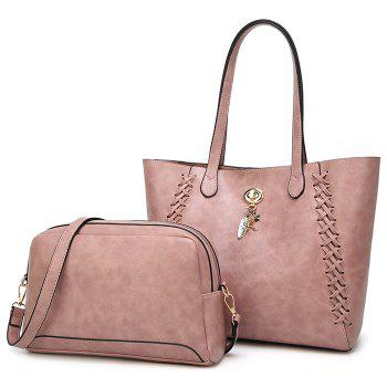Braid 2 Pieces Shoulder Bag Set - PINK PINK