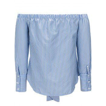 Off The Shoulder Striped Tie Up Blouse - BLUE M