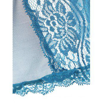 Slip Lace Panel Mesh Sheer Babydoll - BLUE GREEN BLUE GREEN