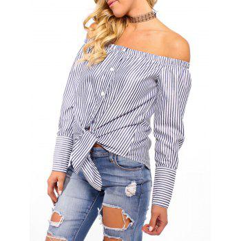 Off The Shoulder Striped Tie Up Blouse - CADETBLUE XL