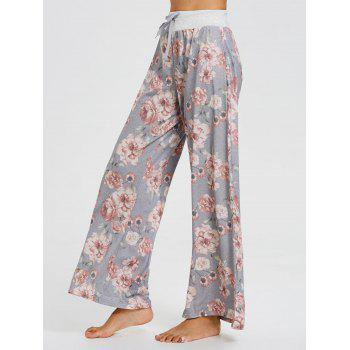 High Waisted Floral Palazzo Pants - FLORAL L