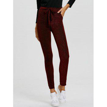 Drawstring Sparkly Skinny Pants - WINE RED M
