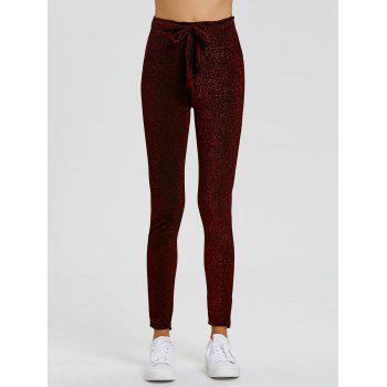 Drawstring Sparkly Skinny Pants - WINE RED L