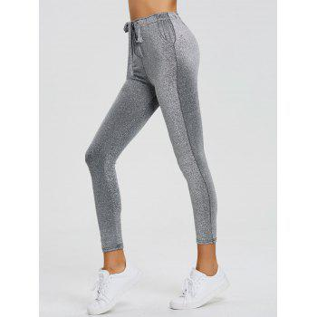 Drawstring Sparkly Skinny Pants - SILVER SILVER