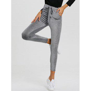 Drawstring Sparkly Skinny Pants - SILVER XL