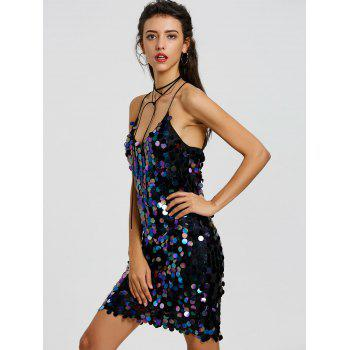 Backless Sequined Mini Bodycon Dress - BLACK BLACK