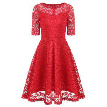 Fit and Flare Lace Vintage Dress - RED RED