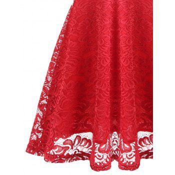 Fit and Flare Lace Vintage Dress - RED S