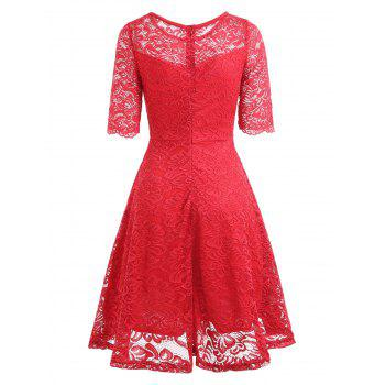 Fit and Flare Lace Vintage Dress - RED M