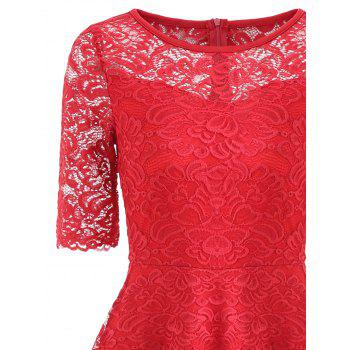 Fit and Flare Lace Vintage Dress - RED 2XL