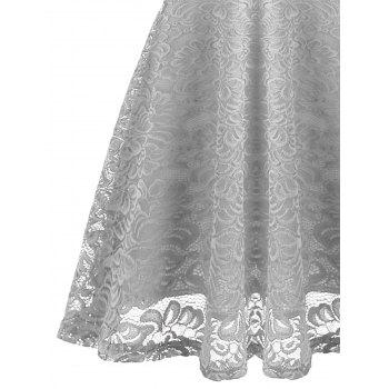 Fit and Flare Lace Vintage Dress - GRAY L