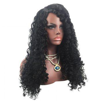 Long Side Parting Synthetic Fluffy Deep Wave Wig - BLACK BLACK