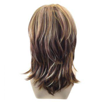 Medium Inclined Bang Layered Natural Straight Colormix Synthetic Wig -  COLORMIX