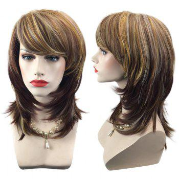 Medium Inclined Bang Layered Natural Straight Colormix Synthetic Wig - COLORMIX COLORMIX