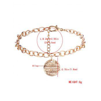 Disc Engraved Charm Chain Bracelet - GOLDEN