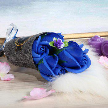 5 Pieces Roses Artificial Flower Bouquet Valentine Day Handmade Soap - BLUE 26*10*6CM