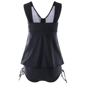 V Neck Skirted Tankini Swimwear - BLACK S