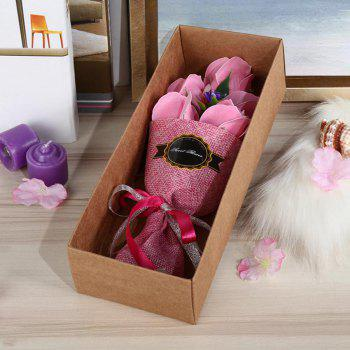 5 Pieces Roses Artificial Flower Bouquet Valentine Day Handmade Soap - PINK PINK