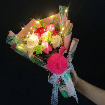 Handmade Soap Artificial Flower Bouquet LED Light Flamingo - PINK PINK