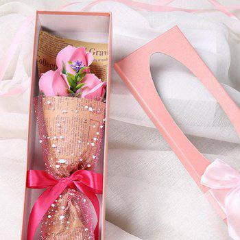 3 Scented Soap Roses Flower Bouquet Gift Box Valentine's Present - PINK PINK