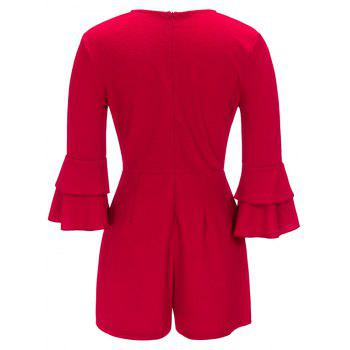 Flare Sleeve Surplice Neck Romper - RED L